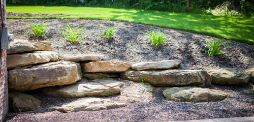 Summer Landscape Natural Stone Wall